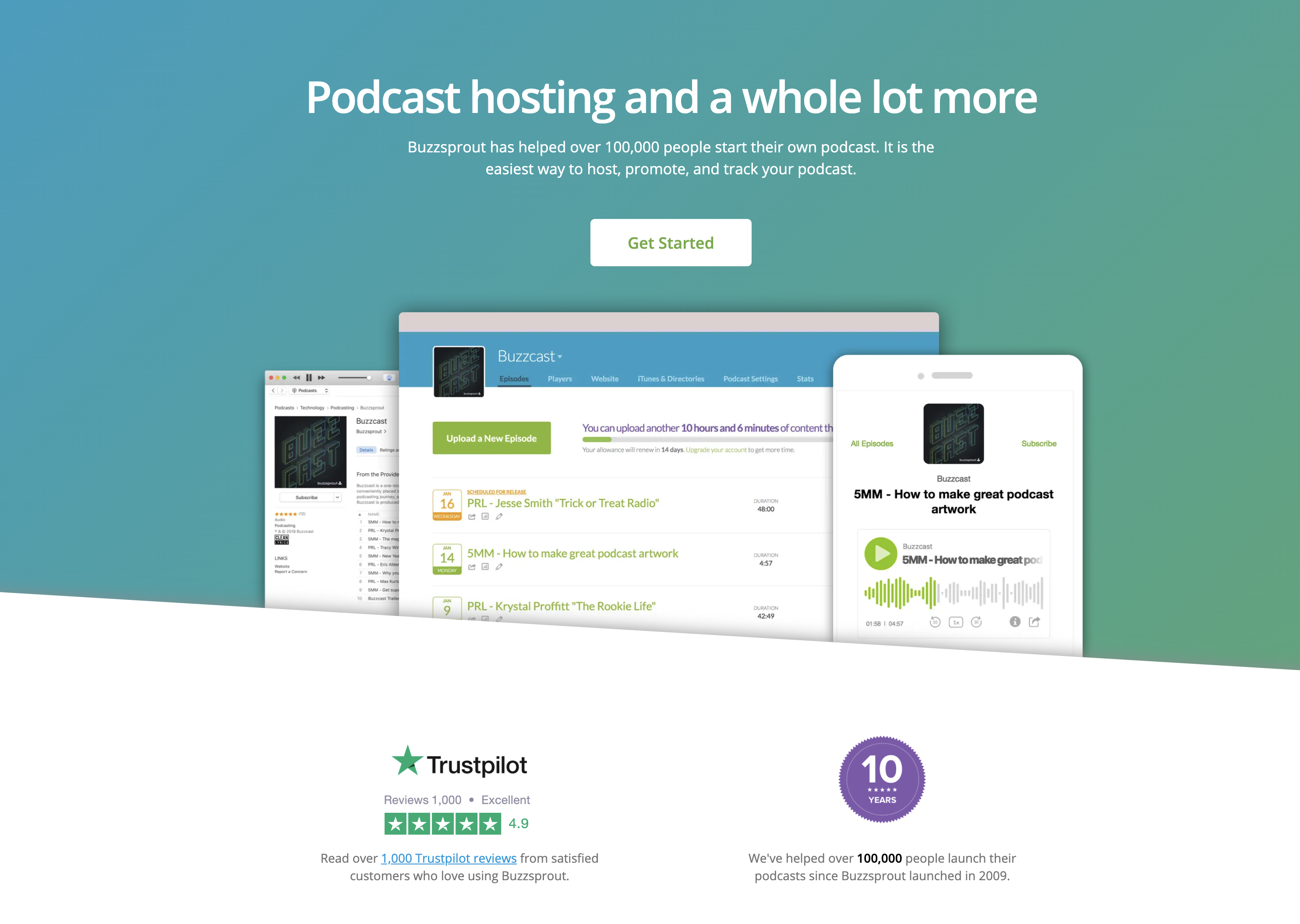 Buzzsprout podcast software